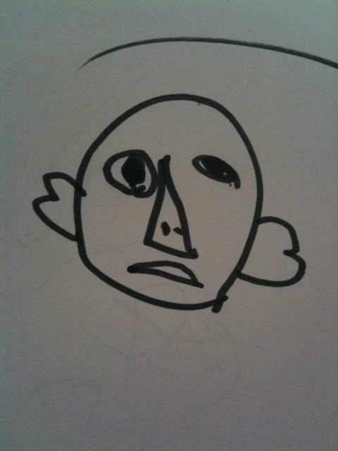 化粧してた女の人、って子供がこんなん描いてきた。ケミーキラーのアキラ。 / naka_hide